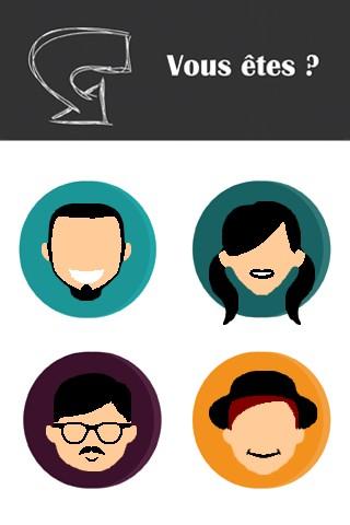Maquette du choix de profils touristiques